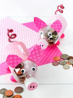 Diy and crafts diy projects - DIY Water Bottle Piggy Banks Craft Easy Crafts For Kids, Easy Diy Crafts, Summer Crafts, Diy Craft Projects, Diy For Kids, Money Crafts For Preschoolers, Pig Crafts, Animal Crafts, Piggy Bank Craft
