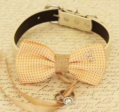 Dog Bow Tie collar,  Dog ring bearer, Pet Wedding accessory, Charm, Heart, Burlap, Golden haze, Dog Lovers, Proposal, Wedding, Gift