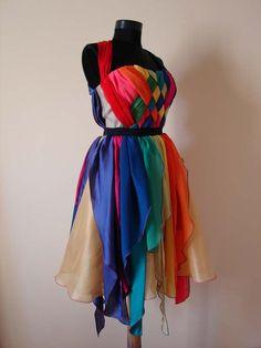 rainbow bridesmaids dress