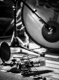 """Recording Drums..."" Setting up microphones ready to record the drum tracks..."