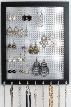 Jewelry Organizer Necklace Holder Earring Storage Display Wall