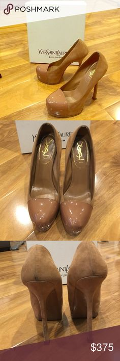 YSL TRIBTOO CAP TOE NUDE SUEDE PUMP 105 YSL TRIB TOO CAP TOE PUMP 105 in Nude with patent toe and suede body. In great condition with original box and dust bag Yves Saint Laurent Shoes Heels