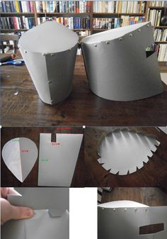 Quick and easy. A knight´s helmet out of cardboard. Fold a big piece of silver cardboard. Measure from the fold and cut out according to picture 2. Print tear-shaped templates and tape. Impress the folding line 1,5 cm from the brim and cut zigzag. Bend over. Attach pointy end to visor and punch holes where the zigzags connect to the helmet. Works best with an awl, but a sharp knife does the trick, too. Attach with lots of butterflypins. It will look like golden rivets. MFWF