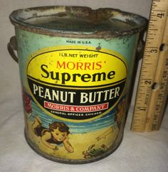 Morris Supreme Peanut Butter Antique Tin Litho Can Children Sand Toy Beach Old | eBay