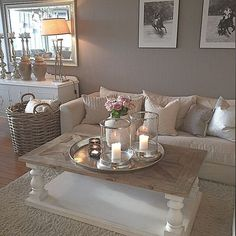 Cozy Grey Living Room Inspiration – LOVE all these gray and white living rooms and dark gray living room ideas! I really like a neutral living room with pops of … Coastal Living Rooms, Room Decor, Decor, House Interior, Living Room Decor, Chic Living Room, Home, Interior, Living Room Designs