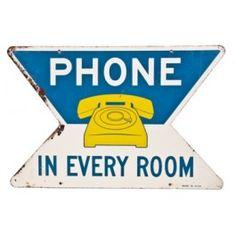vintage c. 1950's polychrome enameled die cut roadside motel phone sign - fabricator unknown  UR #: UR-5900-10