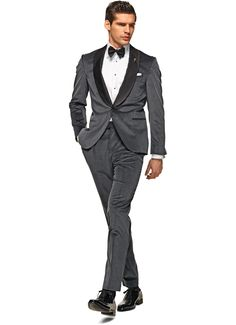 Suitsupply Suits: Soft-shoulders, great construction with a slim fit—our tailored, washed and formal suits are ideal for any situation. Grey Tux, Suit Supply, Formal Suits, Patent Shoes, Black Tie, Tuxedo, Mens Suits, Marie, Dress Shoes