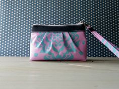Pleated Zipper Wristlet clutch with removable strap by TinyDaisy, $19.00