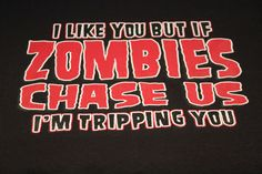 Zombies chase us I'm tripping you funny Halloween t-shirt tee NWOT black graphic #JERZEESGildanFOLweonlyusenamebrandfirsts #ShortSleeve