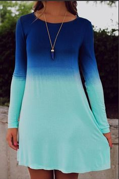 Blue Ombre Long Sleeve Dress