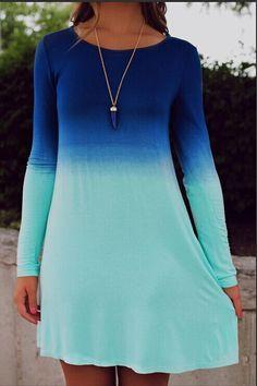 Blue Ombre Long Sleeve Dress