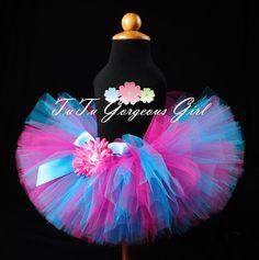 Hot Pink & Turquoise Birthday Tutu...Diva Tutu, Dance Tutu, Photo Prop...Newborn, Baby, Toddler, Girls Sizes . . . SUDDENLY SASSY