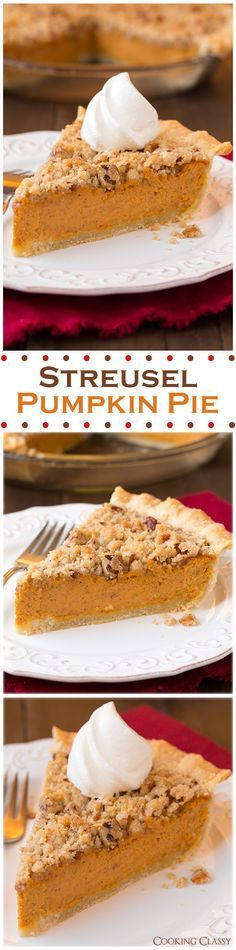 Streusel Pumpkin Pie - this is the BEST pumpkin pie I've ever had! Love the addition of a crumb topping and cream cheese in the filling. #pumpkinpie #thanksgiving