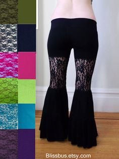 Pick a Color Stretch Lace Yoga Pants Bell Bottom by BlissBus, $69.00