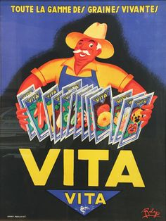 Vita seeds original vintage French product poster from 1948 by Robys.