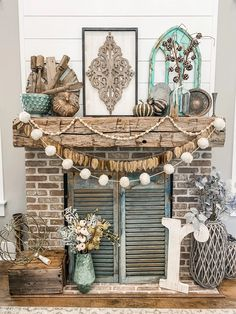 Rustic Boho Inspired Fall Mantel | This fall mantel is not your typical orange pumpkin and bale of hay- instead, we're breaking ALL the rules by using things like leopard print and my fave color…AQUA!! #FallDecor #BoHoStyle #FallMantleInspiration Decor, Modern Farmhouse Living Room Decor, Farmhouse Decor, Fall Mantel, Diy Fall, Boho Decor, Mantel Decorations, Fall Decor Diy, Inspiration