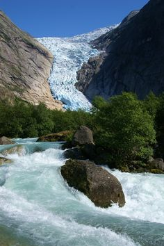 """Breathtaking!!!!   Guests from all over the world come to visit this famous glacier arm set attractively between roaring waterfalls and high peaks. Located in Jostedalsbreen National Park in Norway. You can see the Briksdalen valley by foot or catch a ride with one of the """"Trollcars"""" up to Briksdal glacier. http://www.nordfjord.no/en/Product/?TLp=227565"""