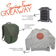 #springfever Giveaway from @VoltaicSystems @MountainsmithCO @PassengerWear