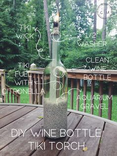 DIY wine bottle tiki torch | Cody Uncorked. Get the tutorial here  http://codyuncorked.com/diy-tiki-torch/