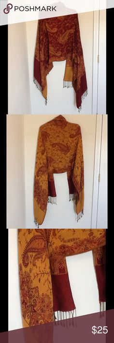 """Beautiful Cashmere/Silk Pashmina, Reversible  ✔️ Beautiful Pashmina/Scarf/Wrap ✔️ Color: Gold Orange and Wine Red ✔️ 70% Cashmere, 30% Silk ✔️ It has fringes at the ends.  Reversible.  Two sides/colors. ✔️ Measures approx. 73"""" x 26.5"""" ✔️ Excellent condition, like new!  If you have any other questions, please don't hesitate to ask below  Accessories Scarves & Wraps"""