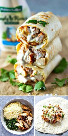 Healthy Lunch Wraps, Healthy Meal Prep, Healthy Drinks, Healthy Dinner Recipes, Diet Recipes, Chicken Recipes, Eating Healthy, Healthy Diet Snacks, Healthy Dishes