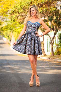 vestido curto verao estampadinho