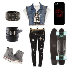 """""""Skateboarding"""" by rebelvictoria ❤ liked on Polyvore featuring Glamorous, Levi's, River Island, Converse, Betsey Johnson, women's clothing, women, female, woman and misses"""