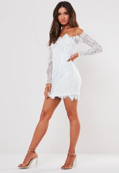 News flash, we've got new dresses dropping daily & they are everything. Shop range from formal dresses, prom dresses, party & going out dresses. White Eyelashes, White Mini Dress, Long Lashes, Going Out Dresses, Prom Dresses, Formal Dresses, White Long Sleeve, Lace Fabric, Missguided