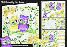 Cute pair of owls lemon on a branch of flowers 8x8 mini kit on Craftsuprint - Add To Basket!