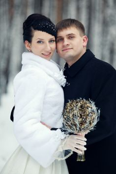 Keep warm at your winter wedding with a fashionable velvet, plush, fur or lined satin coat that matches your gown.