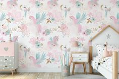 Beautiful White and Pink Wallpaper for Girls with Unicorns and | Etsy