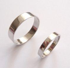 White gold wedding bands set women men wedding rings by havalazar, $475.00