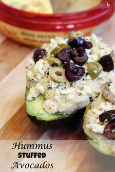 hummus stuffed avocado with feta cheese and kalamata olives is the perfect office lunch! #grainfree
