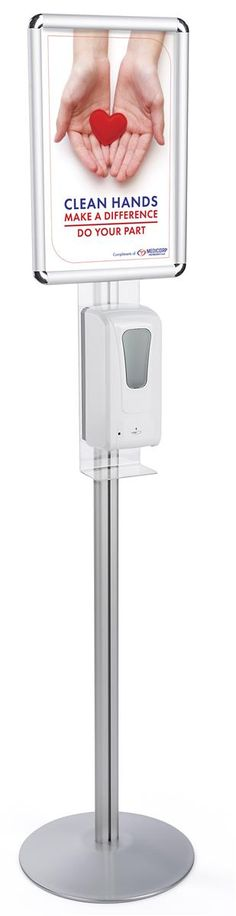 Hand Sanitizing Floor Stand, Automatic Dispenser, 11 x 17 Snap Open Frame - Silver Hand Sanitizer Dispenser, Flu Prevention, Floor Decal, Open Frame, Morning Pictures, Workplace, Signage, Essentials, Flooring