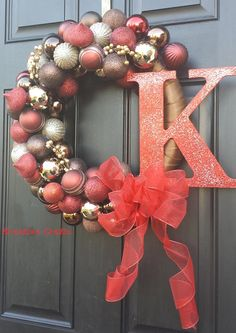 Red, Brown and Gold Monogram Bulb Wreath.  Kreative Crafts