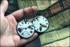 Vintage enamel watch faces earrings by Dinasbiju