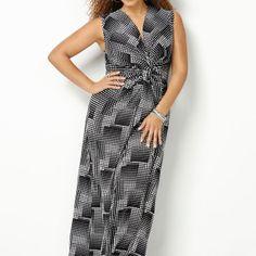 Square Print Knot Front Maxi Dress-Plus Size Maxi Dress-Avenue + shrug
