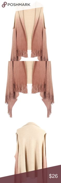 GORGEOUS Beige Ombré Fringe Knit Vest Price is firm! (The first 4 photos are stock photos. The last 2 are mine) Jackets & Coats Vests