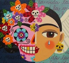 Frida Kahlo Sugar Skull Angel Art Print by LuLu Mypinkturtle. All prints are professionally printed, packaged, and shipped within 3 - 4 business days. Choose from multiple sizes and hundreds of frame and mat options. Diego Rivera, Mexican Artists, Mexican Folk Art, Frida And Diego, Sugar Skull Art, Sugar Skulls, Frida Art, Day Of The Dead Art, Canvas Prints