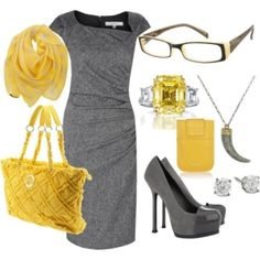 I love the yellow and grey color combo. Dress, purse, and shoes are really cute, but I would do different jewelry and no scarf.