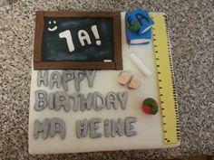 Birthday cake for teacher Teacher Birthday Cake, Teacher Cakes, Happy Birthday, Baked Goods, Baking, Heart, Happy B Day, Baking Supplies, Bakken