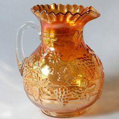 Dugan Floral Grape Carnival Glass Pitcher Marigold Antique for Sara