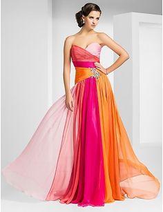 Warm (analagous) colours.    Sheath/Column Sweetheart Floor-length Chiffon Evening Dress - AUD $ 279.00