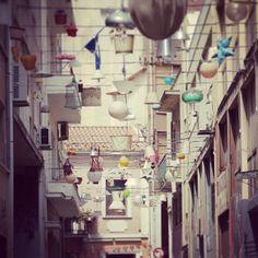 Pittaki Street in Psiri with this lamp installation is the latest favorite snapshot spot. Walking Athens app, Route 03 - Psiri / Monastiraki (Download for FREE)