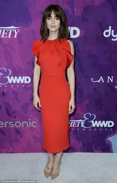 Fringe benefits! Lily Collins showed off her new haircut as she hit the red carpet in Wes...