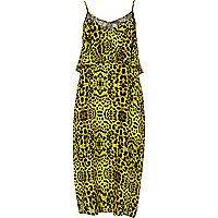 Lime animal print layered midi slip dress