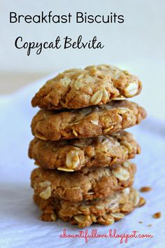 A Bountiful Love: Breakfast Biscuits Copycat Belvita (Breakfast Biscuits) Healthy Breakfast Recipes, Brunch Recipes, Dessert Recipes, Drink Recipes, Healthy Recipes, Belvita Breakfast Biscuits, Baking Recipes, Cookie Recipes, Muffins