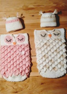 Crochet Owl Cocoon, Hand Crocheted Owl Cocoon Set, Baby Cocoon Set by CountryCrochetGirl on Etsy