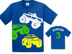 Personalized monster truck birthday shirt. Perfect for a monster truck birthday party. It is also available in many bold colors. It is a 100% cotton shirt that is comfortable, durable, and soft, and is perfect for any kid. All designs are made with heat transfer vinyl.  The color of the design and the shirt can be changed. We will try to accommodate any color combination you request. Please a message to check for color availability. Please leave size, name, age, colors requested and date of…