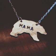 Handstamped Mama Bear Necklace by UniqueTwistJewelry on Etsy